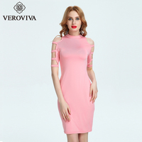 VEROVIVA Autumn Solid Pink Bodycon Dress Women Stand Collar Hollow Out Lace Up Midi Dress Casual Sexy Slim Pencil Dress Female