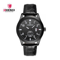 Brand CHENXI New Men Watches Black Model Complete Calendar Genuine Leather Quartz Sport Watch For Man