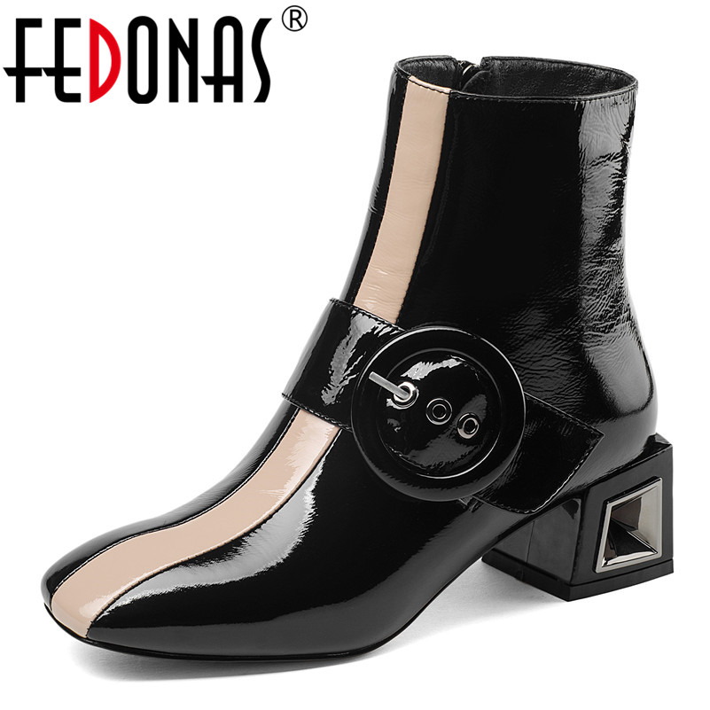 FEDONAS 2019 Autumn Winter Quality Snow Boots Warm Women s Ankle Boots Brand Buckles High Heels