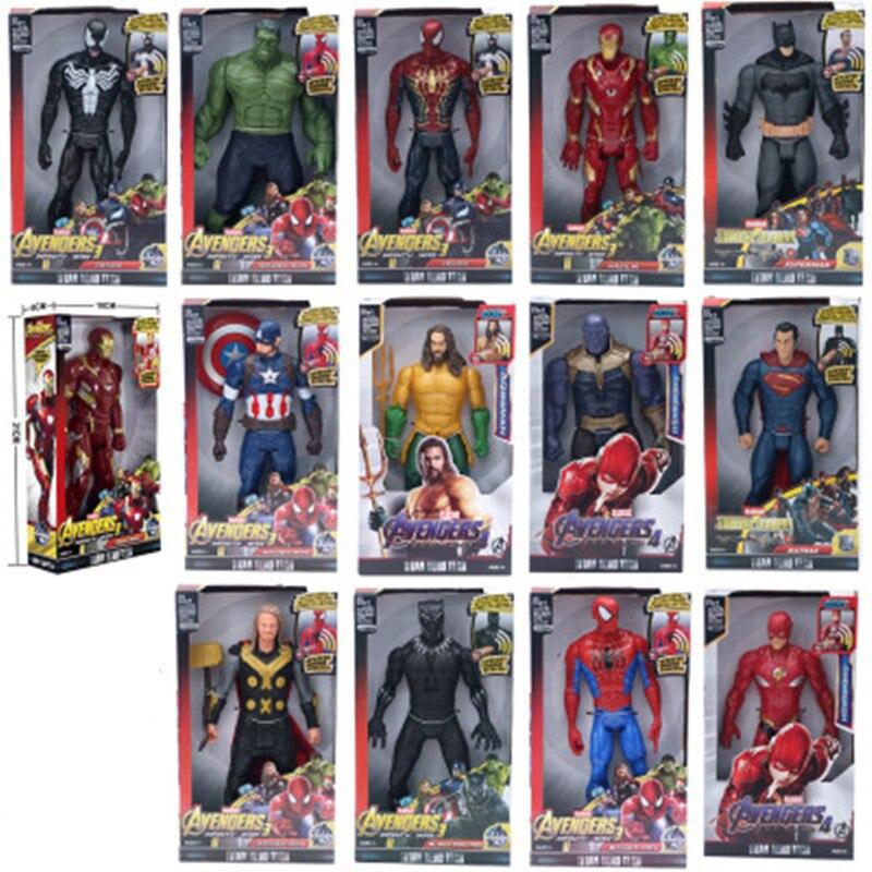 Marvel super heróis vingadores thanos pantera negra capitão américa thor homem de ferro spiderman hulkbuster hulk figura de ação 12