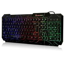 KUIYN Grieta Teclado Retroiluminado colorido Del Arco Iris LED Iluminado Gaming PC Teclado con Diseño Resistente a Salpicaduras