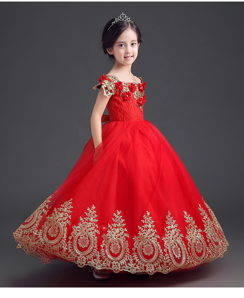 New Design Shoulderless Girls Dress for Panthers play clothes Flower ...
