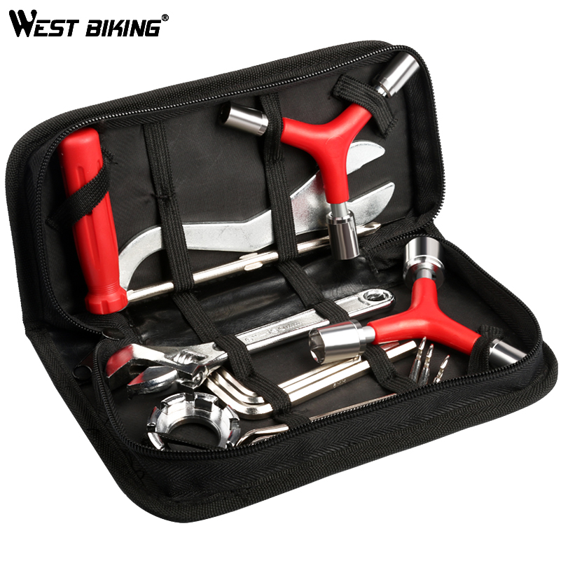 лучшая цена WEST BIKING 8 in 1 Bicycle Repair Tool Kit Bag Set Professional Bike Repair Tools Spoke Wrench Kits Hex Screwdriver Bicycle Tool
