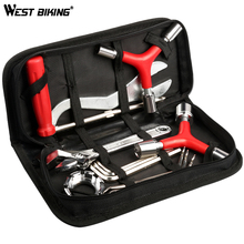 купить WEST BIKING 8 in 1 Bicycle Repair Tool Kit Bag Set Professional Bike Repair Tools Spoke Wrench Kits Hex Screwdriver Bicycle Tool дешево
