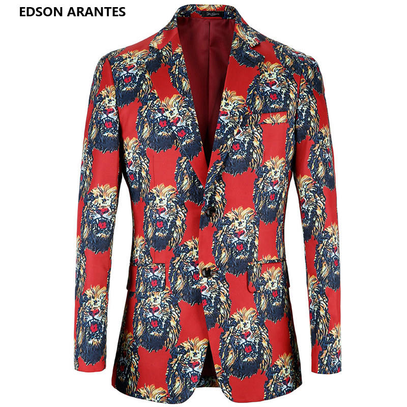 Enthusiastic Plus Size 4xl Men Red Blazer Gothic 3d Lion Animal Luxury Print Men Costume Veste Homme Boutique Brand Party Mens Suit Jacket Men's Clothing