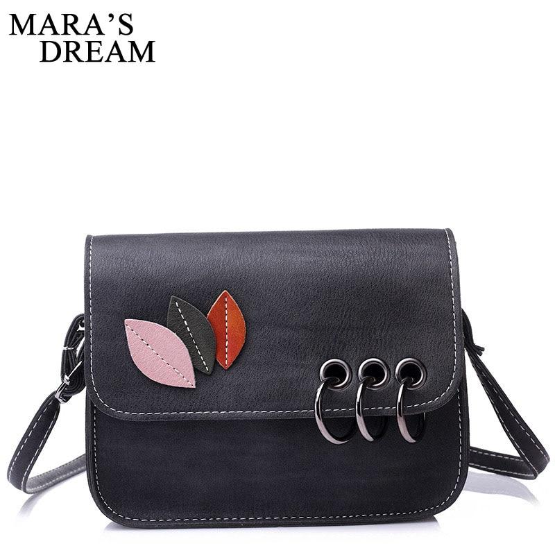 Mara's Dream 2018 Fashion Leaves Decorated Mini Flap Bag PU Leather Small Women Shoulder Bag Messenger Bag Autumn New Arrival 1