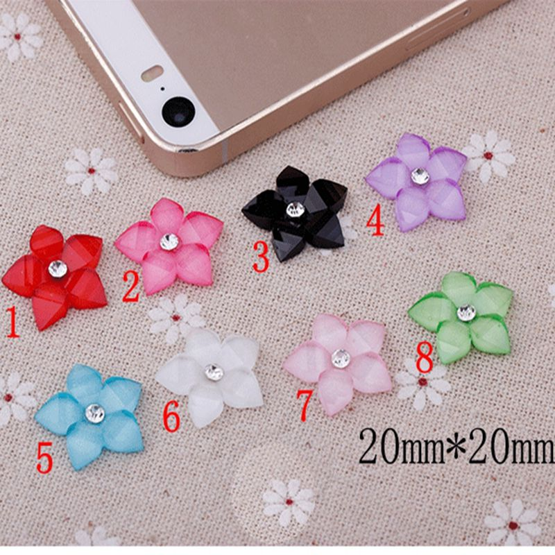 50pcs 8 color optional Flat Back Resin Flowers With Rhinestone For Diy Phone decoration /nail art /Scrapbooking 20mm 009005048