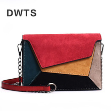 цена на High Quality Leather Patchwork Messenger Bag Women  Female Chain Strap Shoulder Bag Small Criss-Cross Ladies' Flap Bags Handbag
