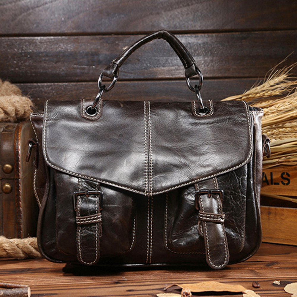 High Quality First Layer Cowhide Tote Handbag Women Tablet PC Genuine Leather Luxury Female Messenger Shoulder