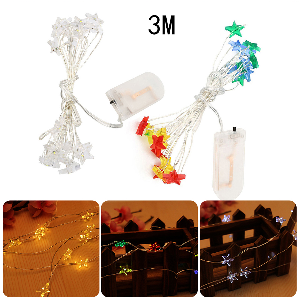 3M 30LEDs Sun Flower/Five Pointed Star String Light for Christmas Wedding Birthday Party Restaurants Bar Decorations Lighting