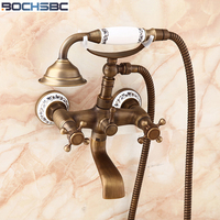 BOCHSBC Telephone Shower Head Antique Brass Shower Set Single Head Shower Sprayer Wall Mounted Mixer Tap Shower Head Handheld