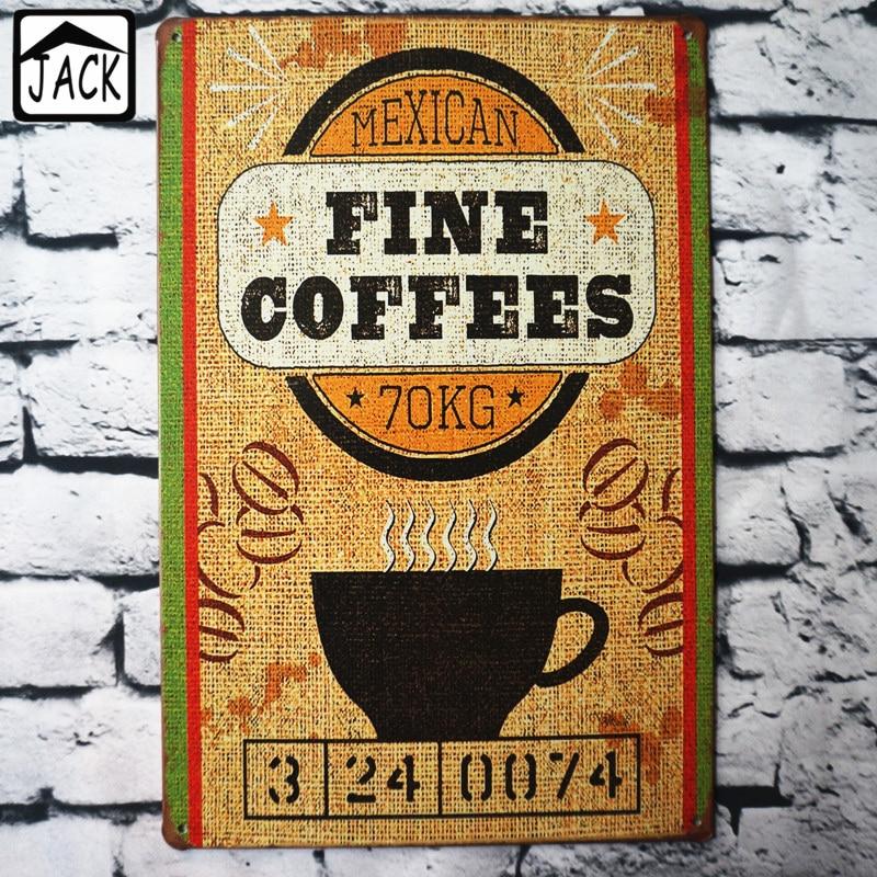 Mexican fine coffee cm vintage sign shop home