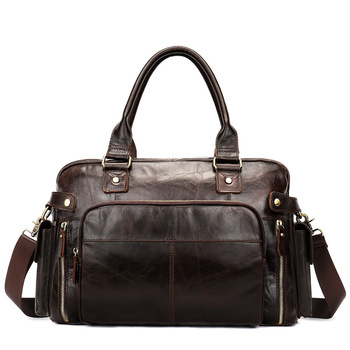 Men's new leather large capacity business portable travel bag Europe and the United States retro outdoor duffel bag new cowhide shoulder bag leather messenger bag buckle fashion europe and the united states portable ladies bag