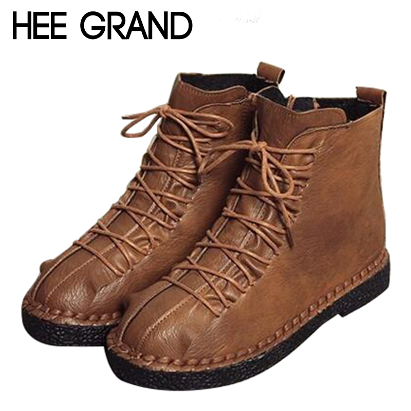 HEE GRAND Women Shoes Lace-up with Woman Winter Fashion Boots Soft PU Leather Causal Women Timber Ankle Boots Women XWX6672HEE GRAND Women Shoes Lace-up with Woman Winter Fashion Boots Soft PU Leather Causal Women Timber Ankle Boots Women XWX6672