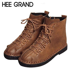 HEE GRAND Women Shoes Lace-up with Woman Winter Fashion Boots Soft PU Leather Causal Women Timber Ankle Boots Women XWX6672
