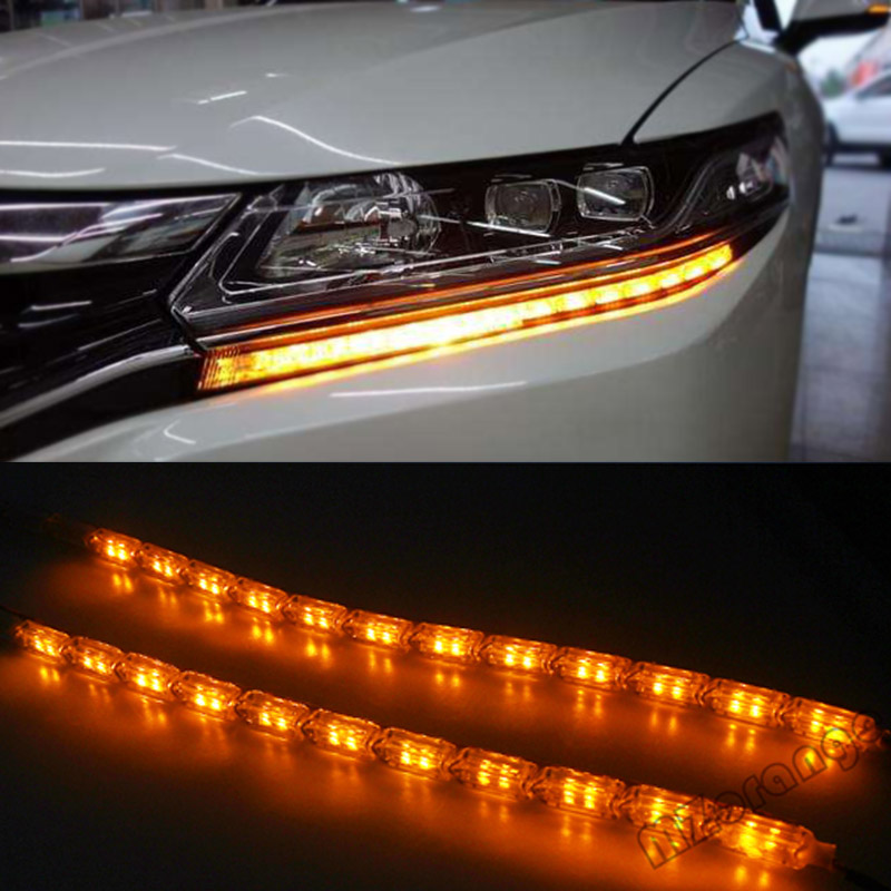 2x Car Flexible White/Amber Switchback LED Knight Rider Strip Light for Headlight Sequential Flasher Dual Color DRL Turn Signal for dodge dart durango excellent no error 7443 ultrabright dual color switchback led drl parking front turn signal light