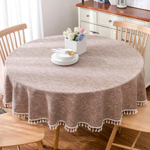 American pastoral round tablecloth tablecloth, solid color cotton and linen coffee table cloth