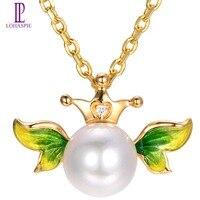 Lohaspie Z Litego 18 k Yellow Gold Naturalne Słodkowodne Pearl & Diamond Accent Angel Wing i Korona Wisiorek Dla kobiet perła Biżuteria