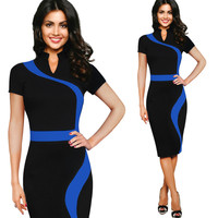 Womens Contrast Colorblock Office Casual Pencil Dress To Work Business Casual Party Suit