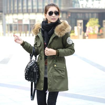 ФОТО 2016 winter new large yards plus velvet thick coat fashion casual long-length Slim cotton padded jacket female