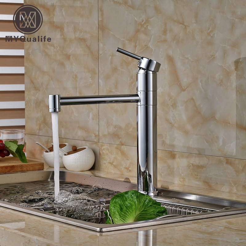Chrome Brass Deck Mount Hot Cold Water Rotation Kitchen Sink Faucet Single Handle Mixer Taps One