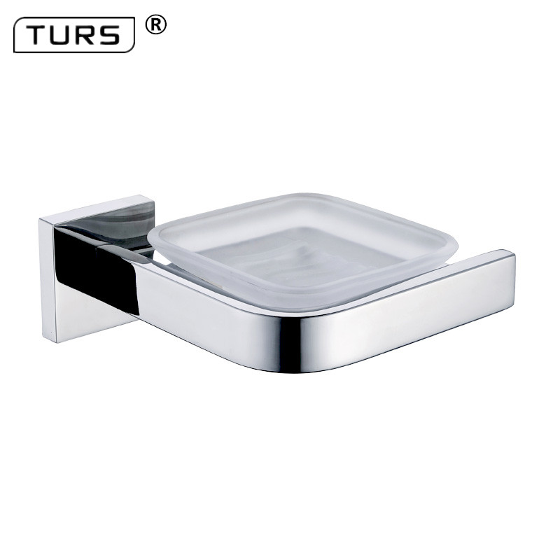2018 SUS 304 Stainless Steel Bathroom Soap Dish Holder With Glass Modern Smooth Mirror Square Soap Dish Set Bathroom Accessories