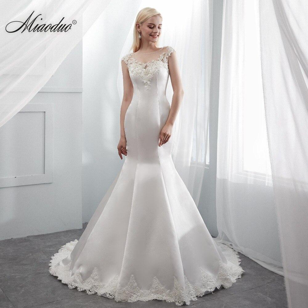 Satin Wedding Dress 2019: Mermaid Satin Wedding Dress 2019 Robe De Mariee Cap Sleeve