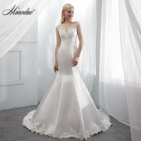 Miaoduo 2019 Mermaid Satin Wedding Dresses Robe De Mariee Scoop Cap Sleeve Bridal Gowns Long Dress With Appliques Beads Newest