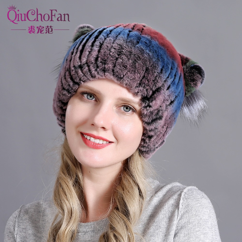New winter women girls cute sweet children lovely real genuine leather rex rabbit fur hat cat ears warm hat   Skullies     Beanies   cap
