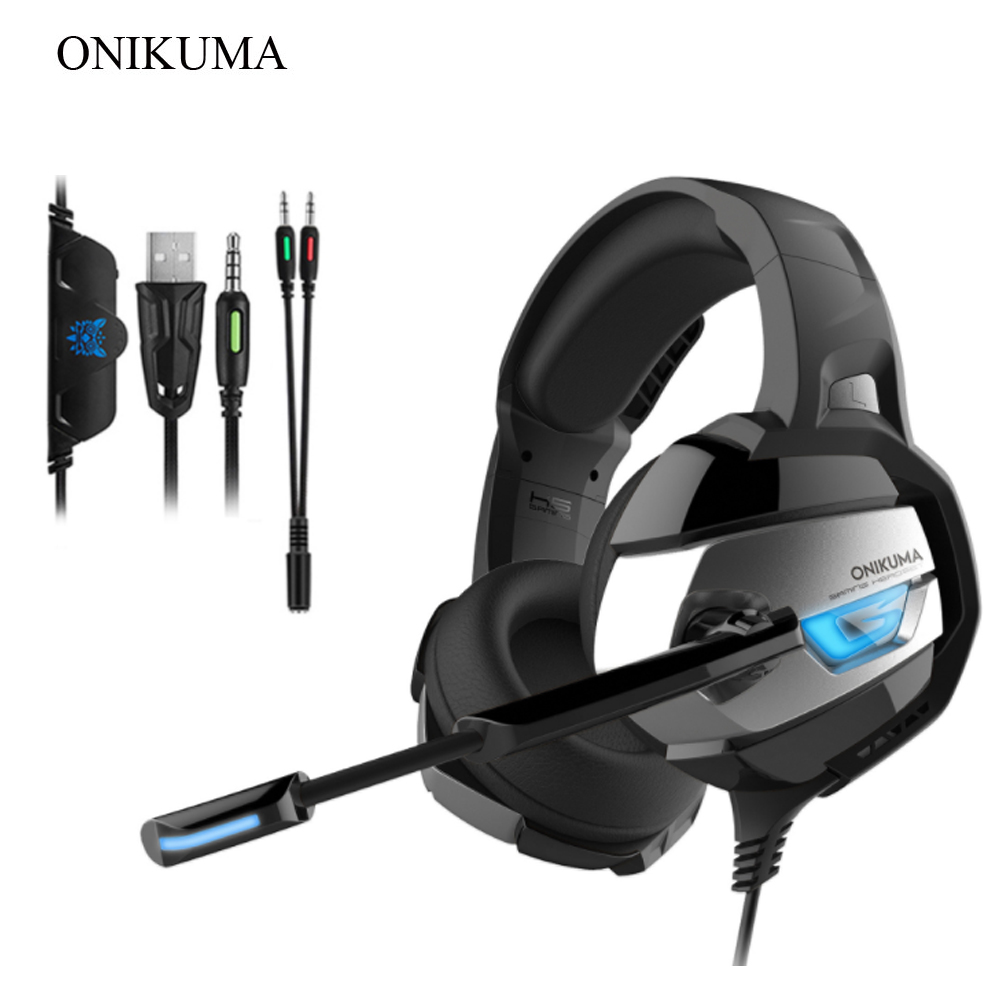 ONIKUMA K5 Gaming Headset Gamer casque with Microphone LED Deep Bass Gaming  Headphones for Computer PC PS4 Laptop Notebook