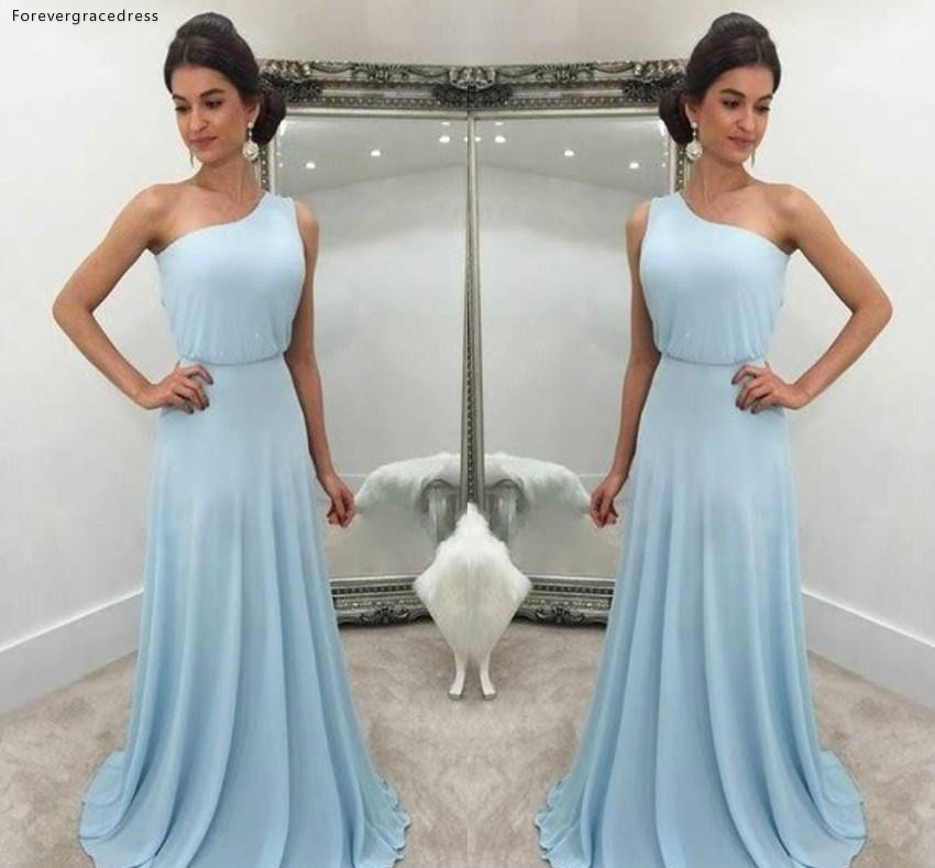6de4b3c85b482 Chiffon Bridesmaid Dresses 2019 One Shoulder Summer Country Garden ...