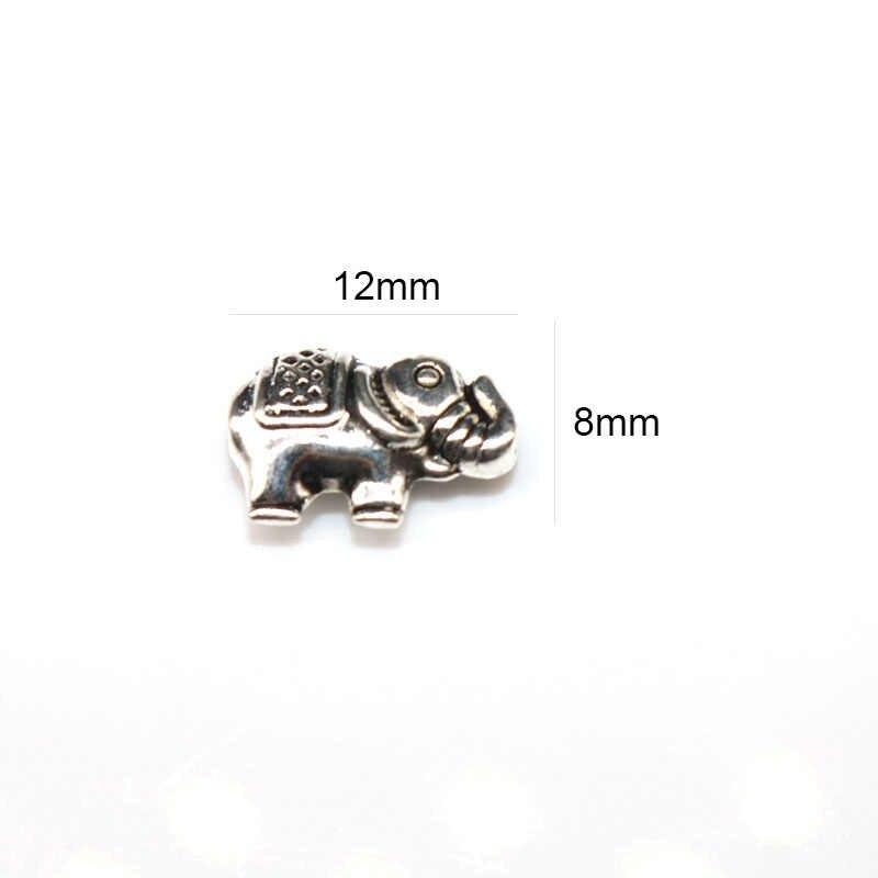 12Mm 20Pcs Bahan Perak Tibet Manik-manik Berlapis Gajah Eropa Pengatur Jarak Manik-manik Buatan Tangan untuk Pesona Perhiasan Membuat
