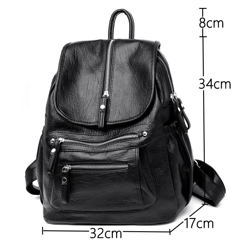 Sac A Dos High Quality Leather Large Capacity Backpack Student Multifunction Shoulder Bag Fashion Lady Backpack Bagpack mochila in Backpacks from Luggage Bags