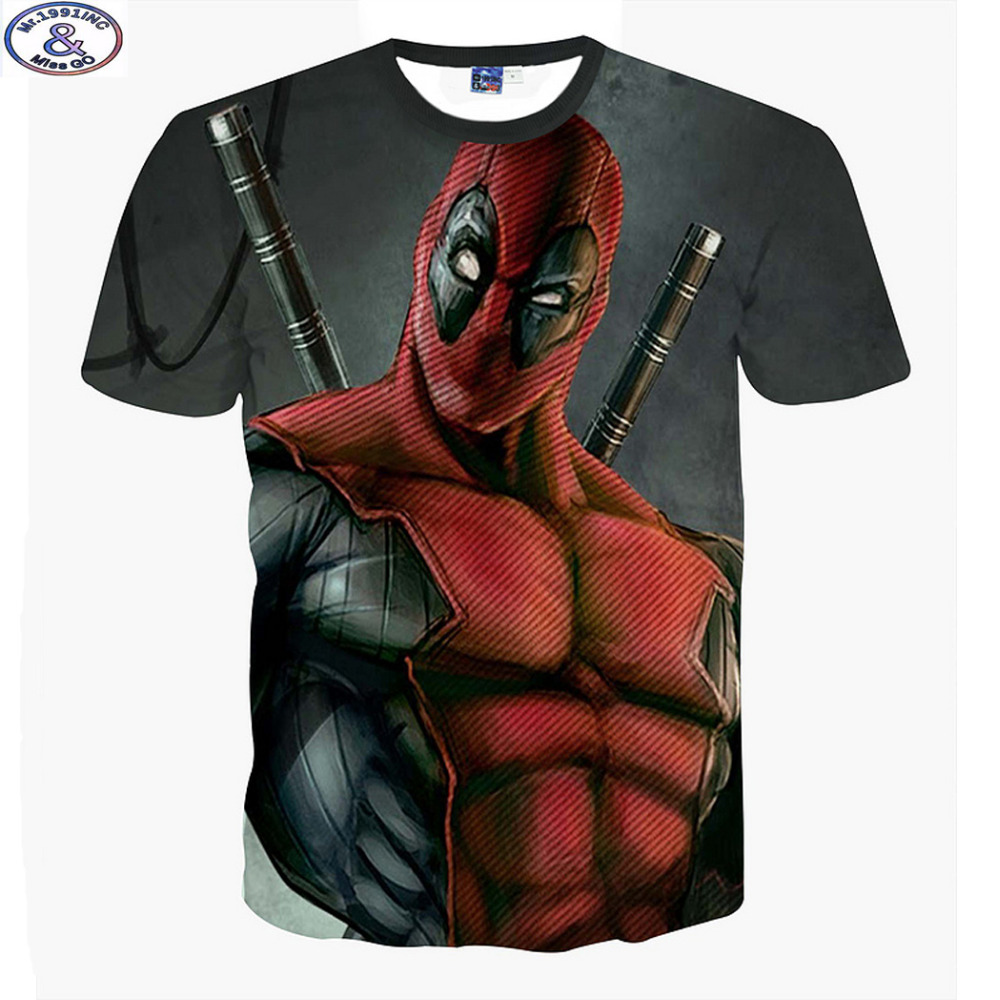 Mr.1991 newest listing America Cartoon Anime Bad guys Deadpool 3D printed t-shirt boys big kids teens t shirt children tops A10