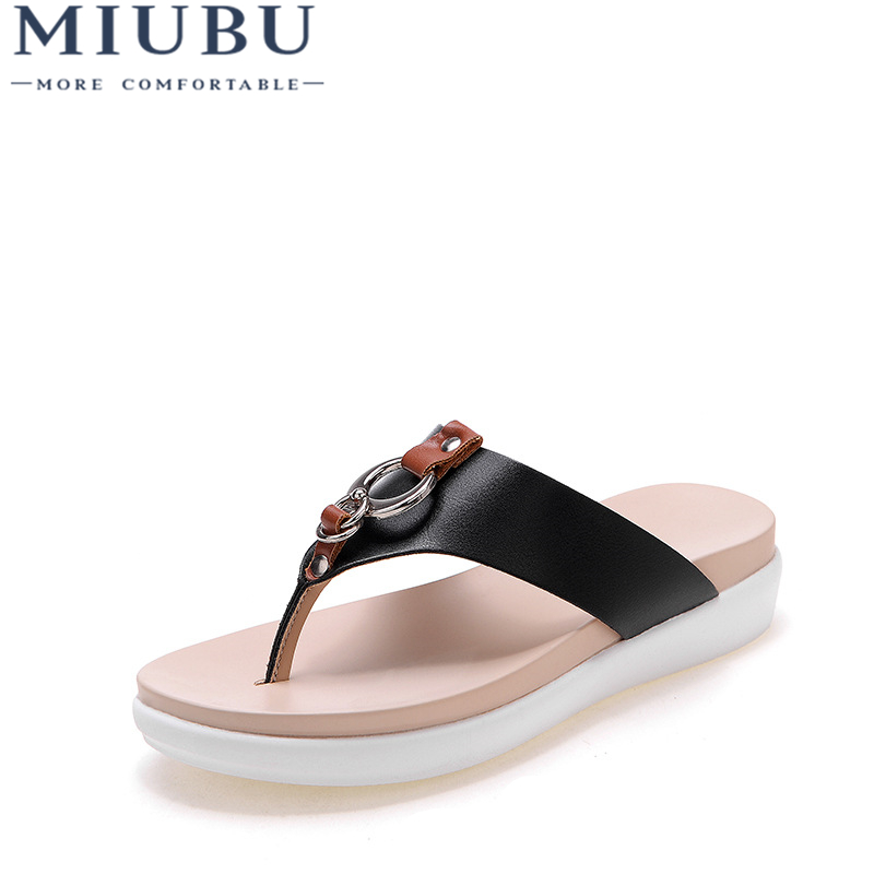 MIUBU 2019 Hot Fashion Women Sandals Flip Flops Belt Buckle Strap Solid Leather Slippers Ladies Shoes Microfiber Big Size 35 43 in Low Heels from Shoes
