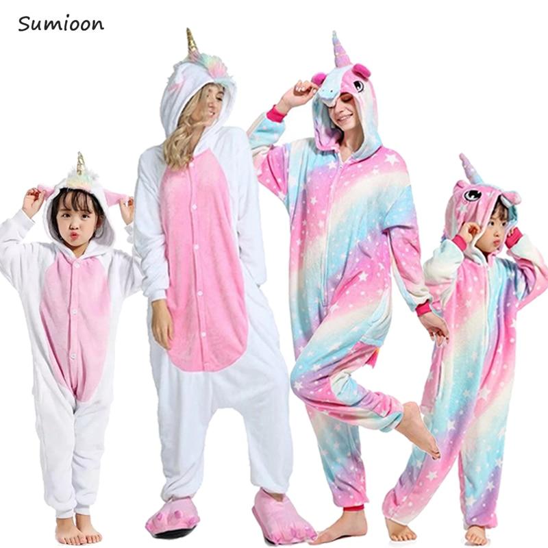 Kigurumi Unicorn Pajamas For Girls Winter Animal Panda Pig Sleepwear Kids Christmas Onesie Boys Pyjamas Baby Sets Pijamas Woman