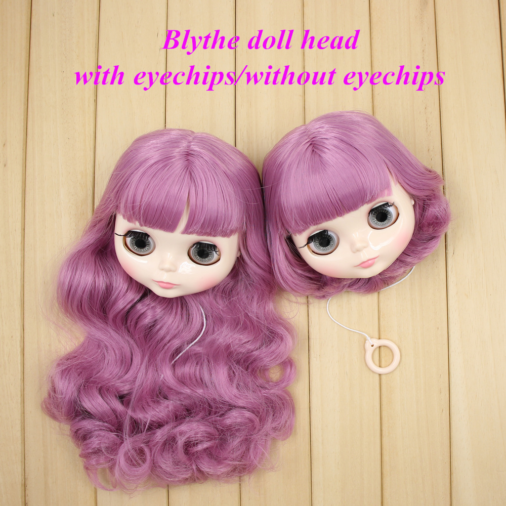 blyth doll head with hair customize DIY 1 6 with or without eyechips Fantasy pink long