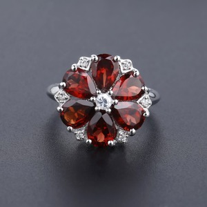 Image 3 - GEMS BALLET 5.05Ct Natural Red Garnet Cocktail Ring 925 Sterling Silver Gemstone Vintage Flower Rings For Women Fine Jewelry