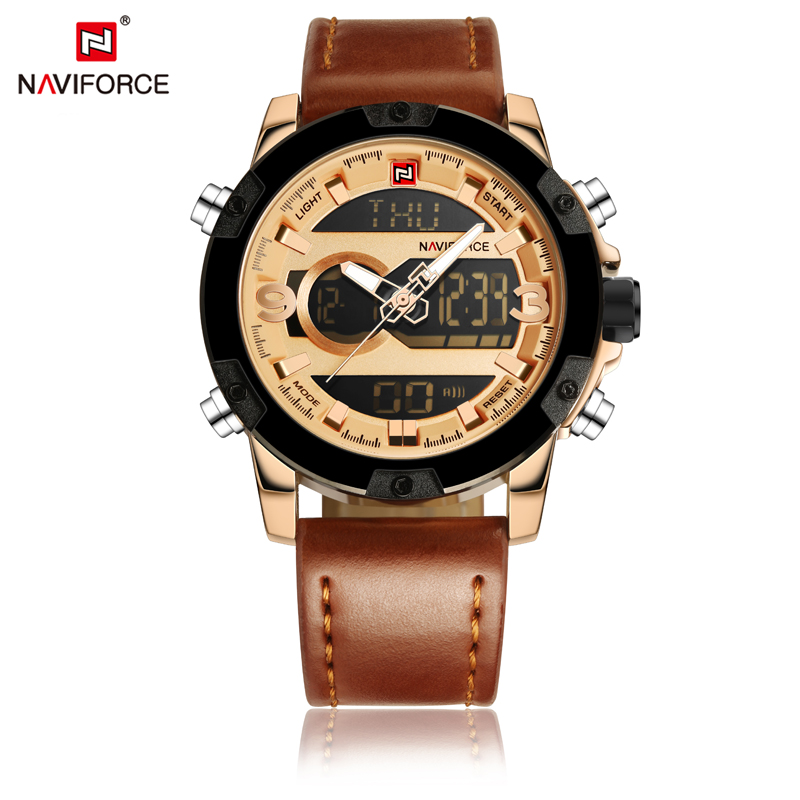 mens watches top brand luxury led digital Dual Display sports watch men leather quartz waterproof wristwatches montre homme 2017