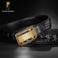 Fajarina Роскошные Для мужчин реальные крокодиловой кожи Ремни изысканный Нержавеющаясталь гладкой пряжкой Бизнес ремень для Для мужчин 3,3 см