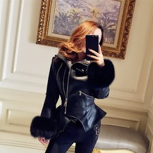 Women Winter Autumn Gothic Faux Leather Coats Fashion Fur Sleeve Motorcycle Jacket Black Outerwear PU