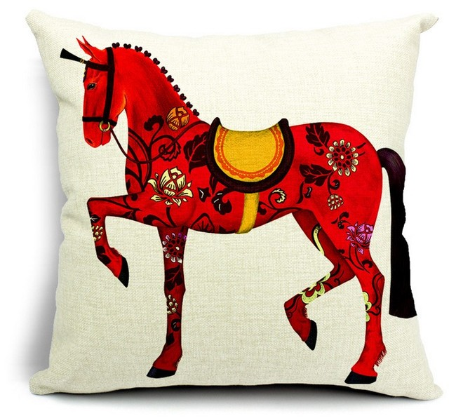 Good Luck Flowers Horse Cute Art Hand Painted Pillows Emoji Euro Home Decor  Pillow Environment