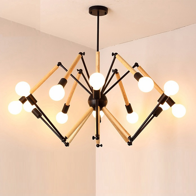 LukLoy Wood Spider Pendant Lights Hanging Modern Lamp Light Adjustable Nordic Loft Living Room Loft Kitchen Lamp With LED BulbsLukLoy Wood Spider Pendant Lights Hanging Modern Lamp Light Adjustable Nordic Loft Living Room Loft Kitchen Lamp With LED Bulbs