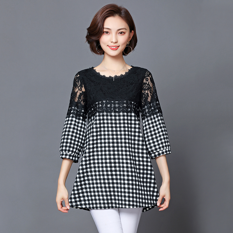 2018 Spring Casual Women Plaid Shirt Blouse With fashion Lace Patchwork Basic Shirt Tops Plus Size 5XL Korean Style T83201C 1