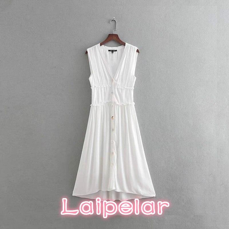 Summer sleeveless white cotton dress women Sexy Deep v neck boho beach party dress 2018 button office long dress casual vestidos in Dresses from Women 39 s Clothing