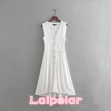 все цены на Summer sleeveless white cotton dress women Sexy Deep v neck boho beach party dress 2018 button office long dress casual vestidos