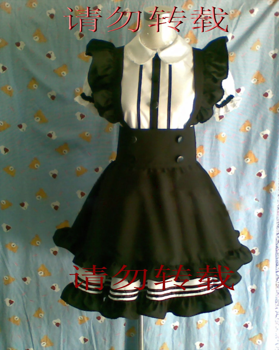 Lolita maid cosplay anime clothes  black and white convention costumes free Shipping