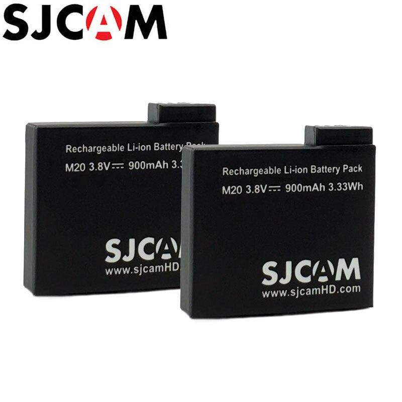 2 unids sjcam M20 Baterías recargable li-ion batería 3.8 V 900 mAh deportes acción cámara DV batería