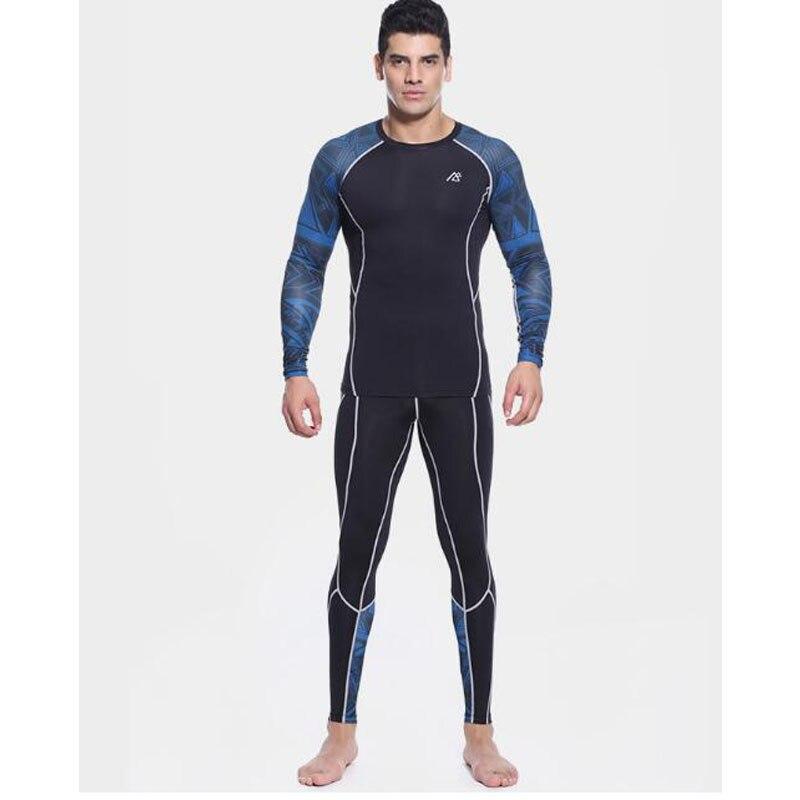 Mens Compressione Camicette + Pants Set Trainning Palestra Corsa e Jogging MMA Sollevamento Pesi Fitness Della Pelle Stretto Abbigliamento intimo Set - 2