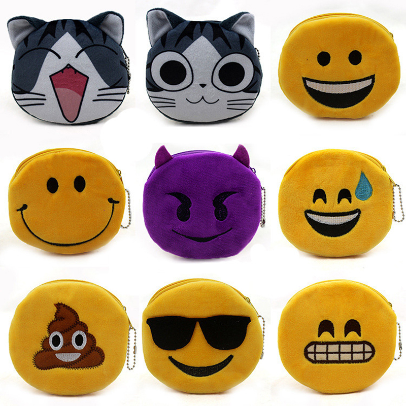 BLEVOLO Cute Plush Coin Purse Fashion Unisex Zipper Small Wallet Purses Women Cat Smile Face Key Pouch Bank Card Pack Money Bag 2017new coin purses wallet ladies 3d printing cats dogs animal big face fashion cute small zipper bag for women mini coin purse